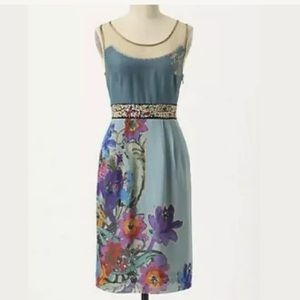 Anthropologie Floreat Manor Gates Silk Dress
